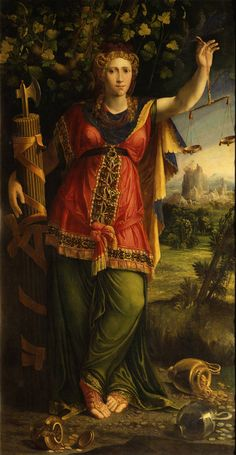 Justitia, 1544, Battista Dossi; The personification of Justice is depicted with fasces (symbolising ancient Roman magistrates' legal authority and power) and the scales of justice, which weigh up the pros and cons of a case; the spilled silver and gold indicate indifference to bribes or financial considerations. (Staatliche Kunstsammlungen Dresden)