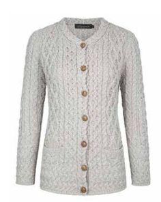 Irelandseye dames vest Avonbeg Aran Lumber - Silver Marl