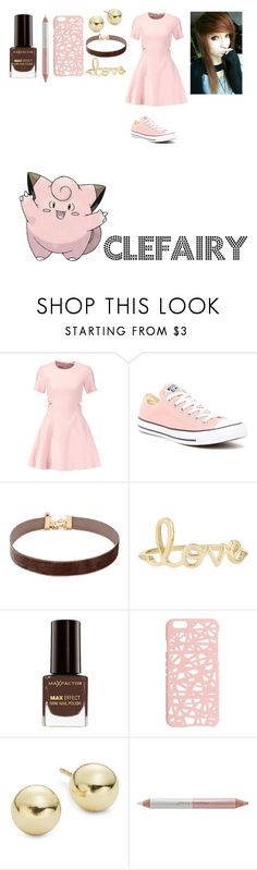 """""""Pokemon: Female Clefairy"""" by mysterious-emo-girl ❤ liked on Polyvore featuring Elizabeth and James, Converse, Vanessa Mooney, Sydney Evan, Max Factor, Miss Selfridge, Lord & Taylor and Jane Iredale"""