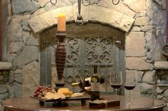 Serving cheese in the wine cellar
