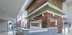 Juanita Craft | Perkins + Will | Healthcare, Public, Lobby...Natural wood finish and vertical articulation