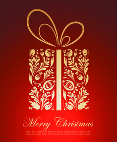 Ornate Red Christmas Backgrounds vector material 01