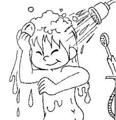 Banyo Yapma Boyama Sayfası - Okul Öncesi Etkinlik Faaliyetleri - Madamteacher.com