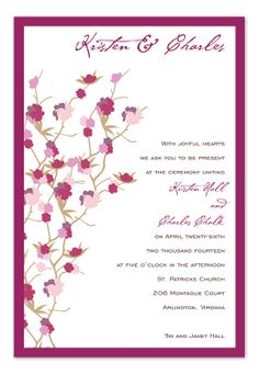 'Cherry Blooms' by Invitation Consultants