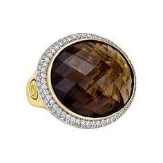 David Yurman Smoky Quartz Diamond Gold Cocktail Ring