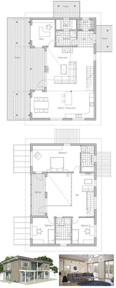 Modern house plan with simple lines, affordable building budget, two floors, spacious interior areas. Floor plan from ConceptHome.com