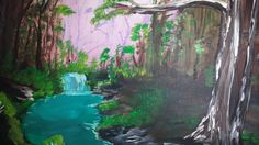 Tropical Forest Acrylic Painting by BrushstrokesbyMeggen on Etsy