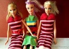 Cute, easy Barbie dresses made from socks. Easy to put on and take off. I came up with this idea independently, but was glad to see someone else blogged about it for me. The make great shirts for Ken Dolls too.
