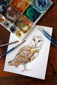 Barn Owl - Original Watercolor Painting Gorgeous! By Jody Edwards (jodyvanB on #Etsy)