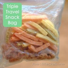 Triple Travel Snack Bag: What do you put in the snack bags? I would suggest you have one Triple Snack Bag for refrigerated items and another Triple Snack Bag for non refrigerated items. Some of our favorite things to have in the car are: Bag of grapes, Cheese sticks, Peeled orange wedges, Sliced apples, Pretzels, Dried Banana Chips/Dried Fruit, Nuts, Raisins, Veggie Sticks, Animal crackers, Nilla Wafers