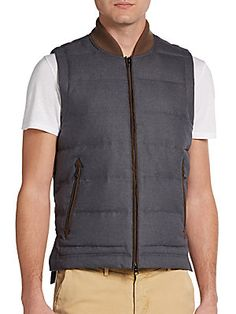 Saks Fifth Avenue BLACK - Quilted Wool Vest