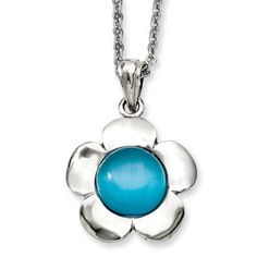 Women's Stainless Steel Blue Agate Flower Pendant Necklace Jewelry Available Exclusively at Gemologica.com