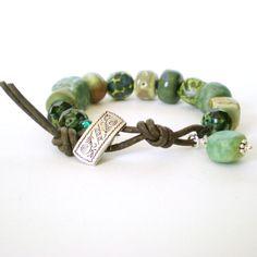ceramic+bead+bracelet+knotted+leather+bracelet+by+jcudesigns,+£20.00
