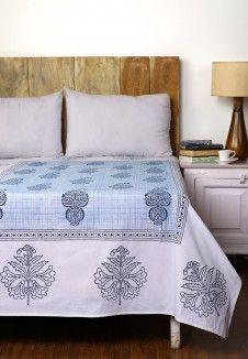 Kalangi Boota Hand Block Printed Single Bedsheet