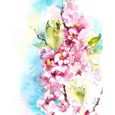Art Print, Blooming Branch Watercolor Painting Art Print, Pink Floral... (44.070 COP) ❤ liked on Polyvore featuring home, home decor, wall art, blossom painting, pink home decor, branch wall art, floral home decor and flower wall art