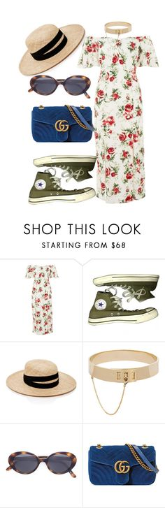 """""""Untitled #1040"""" by veronice-lopez ❤ liked on Polyvore featuring Topshop, Converse, Janessa Leone, Eddie Borgo, Oliver Peoples and Gucci"""