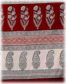 Pure cotton/gauze X 110 cm/Hand block printed/Bagh print/Red/Burgundy/Black/Ivory/India/Flowers/Paisley/Tablecloth/pareo/Wrap Gauze Fabric, Red Fabric, Paisley Art, Tambour Beading, Kurta Designs Women, Linen Pillows, Red Flowers, Soft Fabrics, Fabric Design