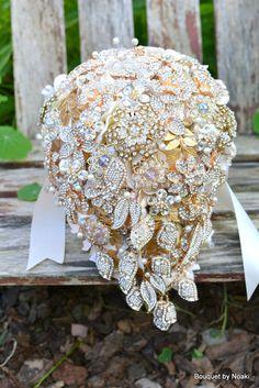 Deposit on cascading gold leaf wedding brooch bouquet -- made to order brooch bridal bouquet. $300.00, via Etsy.