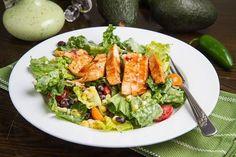 BBQ Chicken Salad with Creamy Avocado Dressing, #Avocado, #Bbq, #Chicken, #Creamy, #Dressing, #Salad