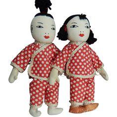 Vintage HM Japanese cloth dolls from kimsdollgems on Ruby Lane