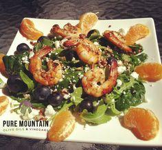 Orange Grilled Shrimp  | Pure Mountain Olive Oil and VInegars | www.puremountainoliveoil.com | This dish bursts with bright, fresh flavors. It is quick, easy, and delicious! | #shrimp #shrimprecipe #healthyrecipe #orangebalsamic #vinaigrette #bloodorangeoliveoil #fleurdesel #garlic #oliveoil #extravirginoliveoil #healthy #saladrecipe #appetizer