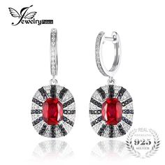 JewelryPalace Luxury 7.1ct Created Ruby Natural Black Spinel Dangle Earring Solid 925 Sterling Silver Jewelry Fashion Women