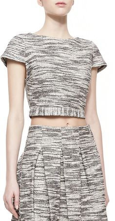 Alice + Olivia Elenore Short-Sleeve Tweed Crop Top- Click to check it out :)