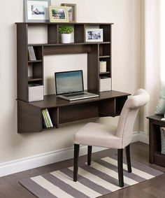 I sure do wish I could ask my daddy to make a couple of these for the boys for Christmas!!!  Another great find on #zulily! Espresso Sonoma Floating Desk by Prepac #zulilyfinds