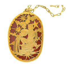 BUCCELLATI Jasper Aquarius Zodiac Medallion | From a unique collection of vintage necklace enhancers at https://www.1stdibs.com/jewelry/necklaces/necklace-enhancers/