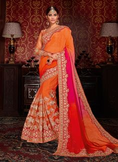 Buy Sophisticated Patch Border Work Designer Half N Half saree, Online  #designersaree #halfnhalfsaree