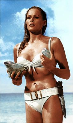 As a Bond girl in the first James Bond movie ever, Swiss Actress Ursula Andress.