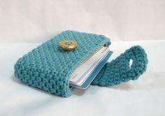 Crocheted Purse Crochet Card Wallet Business Card by MelbaShoppe Crochet Wallet, Crochet Coin Purse, Crochet Purse Patterns, Crochet Purses, Crochet Gifts, Crochet Case, Sac Granny Square, Crochet Shell Stitch, Bag Pattern Free