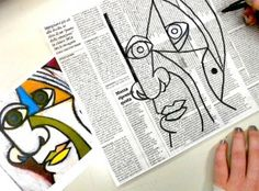 mixed media picasso mastercopies : magazine collage and oil pastel