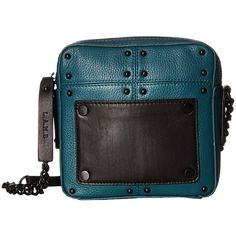 L.A.M.B. Inez (Teal) Cross Body Handbags ($210) ❤ liked on Polyvore featuring bags, handbags, shoulder bags, blue, leather crossbody handbags, leather handbags, shoulder strap handbags, hand bags and shoulder handbags