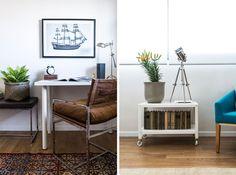 מחשבה הושקעה בכל פינה. בחדר השינה (בתמונה מימין) ובחדר העבודה (משמאל) שולבו פריטים זולים - כוננית מתכת על גלגלים ושולחן עבודה פשוט - בחפצים מעוצבים שנבחרו בקפידה ( צילום: איתי בנית. סטיילינג: יעל קטורזה (סטודיו passe-par-tout) )