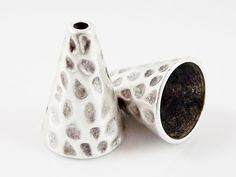 2 Tall Wide Hammered Cone Bead End Caps  Matte by LylaSupplies, $5.00