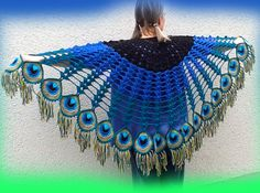 Peacock Feather Scarf - Crochet Pattern - Plus Crochet Bolero, Crochet Shawls And Wraps, Crochet Scarves, Crochet Clothes, Crochet Lace, Crochet Stitches, Chrochet, Peacock Crochet, Peacock Crafts