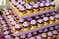 Purple and gold wedding cupcakes #cupcaketower #dessert #weddingcupcakes #purplewedding #goldwedding