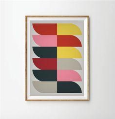 35.00$ - Abstract print poster,  print poster, retro print poster, geometric print poster, poster, posters