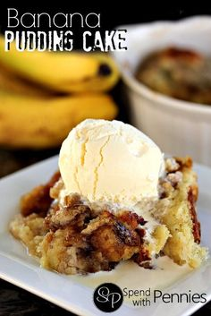 Banana Pudding Cake! Warm banana cake with a delicious sauce! (this is a great way to use up over ripe bananas!)