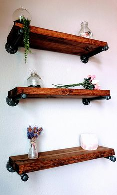 Rustic Pipe shelves with Multiple Sizes Beautiful Rustic image 5 Wood And Pipe Shelves, Reclaimed Wood Shelves, Rustic Shelves, Wall Shelves, Wood Shelf, Corner Shelves, Diy Furniture Plans, Unique Furniture, Rustic Furniture