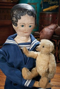 The Blackler Collection (Part 2 of set): 380 American Cloth Folk Doll with His Own Teddy Bear Victorian Dolls, Vintage Dolls, Alabama Baby, Sailor Costumes, Sailor Outfits, Boy Doll, Antique Toys, Art Dolls, Doll Clothes