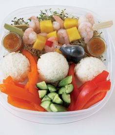 Looking for some new bento box ideas for kids? Here's a tasty combo you may want to try. Sticky rice balls with soya sauce, pepper and cucumber sticks, shrimp and mango skewers with plum sauce, and sprouts. For more creative ideas for kids lunches visit https://www.facebook.com/SchoolLunchIdeas you may find something you 'LIKE'