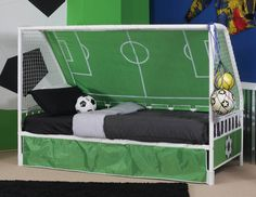 Powell Goal Keeper Daybed in Green & White SKU #: 14Y2015 UPC: 081438452623 #ezpzfurniture #furniture #kidsbed #bed #soccer #goalkeeper #comfort #bedroomfurniture #bedroom #interiordesign #interiorstyling #homedesign