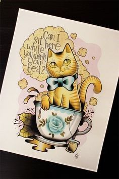 Cat in a Teacup 11x14 Tattoo Flash Print Other sizes by Yukittenme