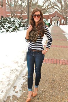 Striped shirt leopard scarf...i would wear this with boots instead