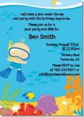 Swimming baby boys birthday party invitation. Cute idea for a summer party, pool party, or beach themed party!