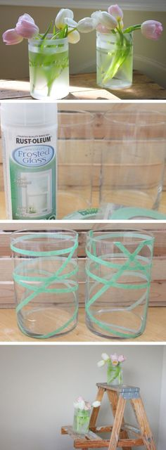 Frosted Dollar Store Vases | DIY Home Decor Ideas on a Budget | DIY Home Decorating on a Budget