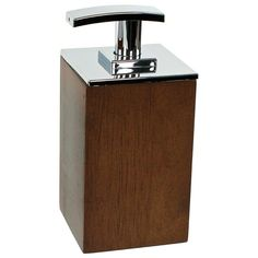 Soap Dispenser, Gedy PA81, Short Brown or White Square Soap Dispenser in Wood PA81