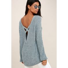 Pursuit of Happiness Heather Blue Backless Sweater ($57) ❤ liked on Polyvore featuring tops, sweaters, blue, loose fitting tops, long sleeve backless top, blue top, loose long sleeve tops and round neck sweater